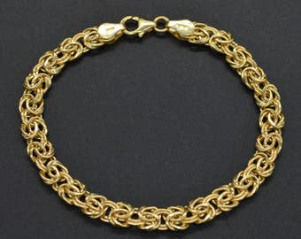 10k Solid Yellow Gold Byzantine Bracelet 7 1/2'' 6mm 5gr