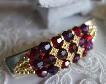 Hair Jewelry-party jewelry-vintage but unused-clasp art beads-red, pink magenta, cyklam and gold