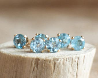 Blue Topaz Stud Earrings, Gemstone Earrings Studs, Girlfriend Gift for Her, 4mm, Ear Studs, Gold, Silver, Topaz Jewelry, November Birthstone
