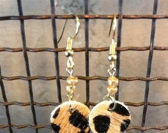 Cheetah Hide on Hair Leather Earrings