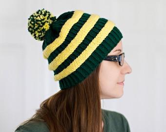 Oregon Ducks Knit Team Beanie with Pom Pom // Green + Yellow Striped Toque // Football Team Hat // Fall Winter Wear Soft Acrylic Yarn Hat