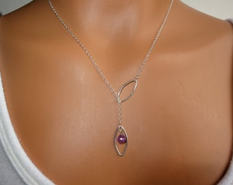Purple Amethyst and Sterling Silver Lariat Necklace, Lariat with Amethyst