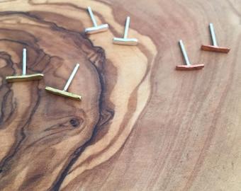 Henge Mini Stud Earrings in Brass, Sterling silver, copper
