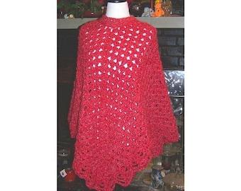 Brick Red Crocheted Poncho