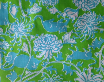 Vintage Lilly Pulitzer fabric in Cuty by Zuzek Key West Hand Print Fabrics (cats, flowers, floral, chrysanthemums, turquoise, lime)
