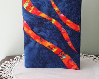 "Notebook (7"" x 5"") with Dark Blue & Orange Cover"