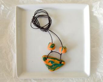 Swirly Green and Orange Triangle Necklace