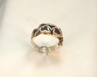 Cast Sterling Heart Cluster Ring