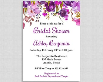 Floral Bridal Shower Invitation, Purple Floral Watercolor Wedding Shower Invite, 5x7 inch, DIY PRINTABLE