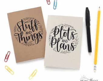 Set of two A6 notebooks - Hand-lettered notebook - Small notebook - cute stationery -
