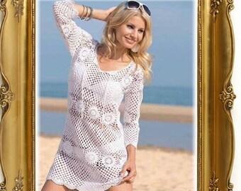 Model dress, beach crochet tunic white cotton pattern and international chart in photo (not d written explanation) pdf format