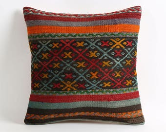 Kilim pillow cover, Striped tribal handmade decorative kilim pillow cover