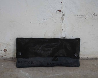 Black Leather Clutch / Gray Purse / Women's Handbags /Cool Clutch Bag
