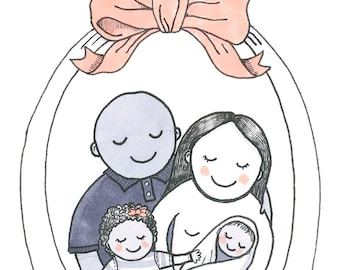 Custom Illustrated Family Portrait - A5