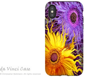 Purple and Yellow Floral iPhone X Tough Case - Dual Layer Protection for Apple iPhone 10 - Daisy Yin Daisy Yang