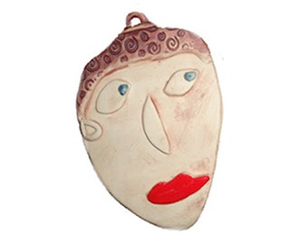 Ceramic Wall Hanging Face/Neutral Color - Bright Red Lips/SMALL/Lovers and Friends/Ceramic Mask/Face Mask/Face Wall Hanging