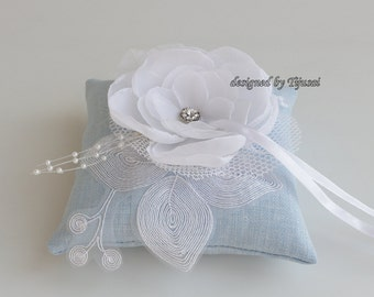 Blue linen wedding ring bearer pillow with white flower ---wedding ring pillow , wedding pillow, rings cushion, ready to shipp