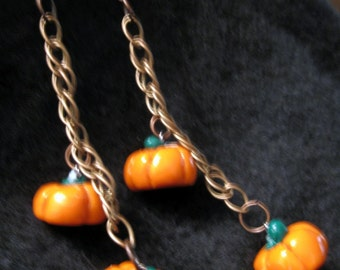 Pumpkin Chain Earrings-Half Price Sale