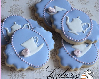 Tea Party Cookies (quantity: 12) teacup teapot kettle shabby chic delicate pretty afternoon wedgewood dusty rose pink favour favor