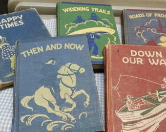 Early School Readers set of 5 books by Lyons & Carnahan, 1950's