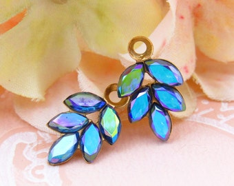 Vintage AB Sapphire Blue Rhinestone Leaf Drops Dangles Charms in Black, Antique Silver or Brass 1 Ring Settings 21x11mm - 2