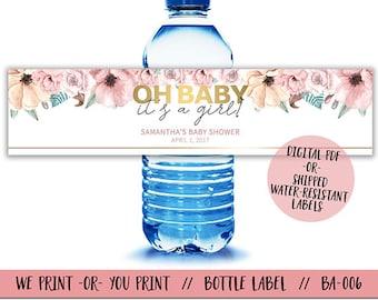 Floral Baby Shower Water Bottle Labels, Babyshower Water Bottle Labels,  Floral Water Bottle Labels