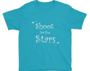 child t-shirt, shoot for the stars, cute t-shirt, youth size shirt, shooting stars, star design, shirt and leggings