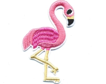 Fusible badge embroidered Flamingo Pink