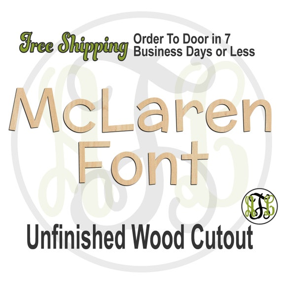 McLaren Font Name / Word / Phrase- Block Alphabet Cutout, unfinished, wood cutout, wood craft, laser cut wood, wood cut out, wooden sign