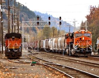 Train Yard Photography, 8 x 12, 16x24, 12x18, Train Tracks, Train Depot, Portland Oregon, Railway Wall Print, Train Home Decor, Engine Photo