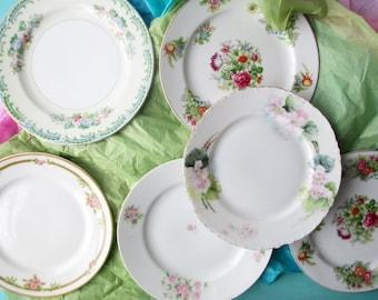Vintage Mismatched Floral Dessert Plates Set of Six - Perfect for a Tea Party