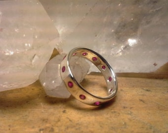 Silver and Ruby Eternity Ring // Lab grown rubies // Size 5.5 //flush set // hand made