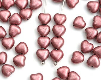 6mm Dark Pink Heart beads, Metallic Pink coated Czech Glass pressed beads - 50pc - 1069