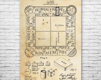 Landlords Game Poster Art Print, Boardgame Poster, Land Lord Game, Monopoly, Boardgame Gift, Board Game, Poster Print, Wall Art, Home Decor