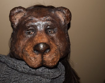 Paper mache animal mask, bear mask, bear costume, Halloween mask, Masquerade mask