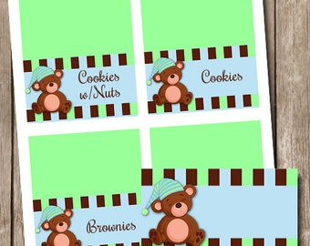 Editable Teddy Bear Food Tent Place Cards INSTANT DOWNLOAD