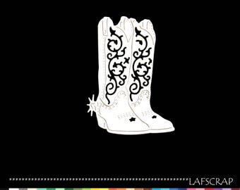 Scrapbooking cutting boots cowboy wild west American cut paper embellishment die cut creation