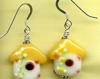 Baby Birdhouse Sterling Silver Earrings