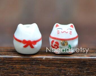 10 beads- Porcelain Lucky Cat beads 15mm, Ceramic Maneki Neko, Drilled with hole, White Red/ Pink Kawaii Cat-(80148)