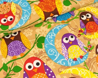 Cotton exclusive Quilters what a hoot light brown (13.90 EUR / meter)
