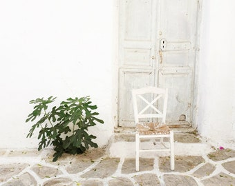 "Greece photography - White Cobblestone Wood Door - Fig Tree Print - White Kitchen Wall Art - Dining Room Decor ""White Chair and Fig Tree"""
