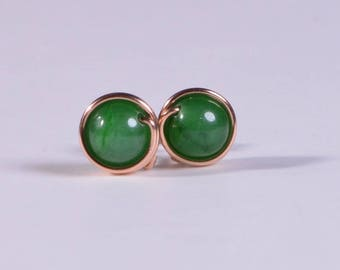 Green Jade Copper wire wrapped studs earring Jade post earrings Gift for her