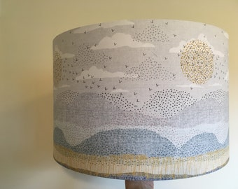 Handmade lampshade in Dashwood Birdsong fabric, peaceful sunset birds beach scene, various sizes and coloured linings!