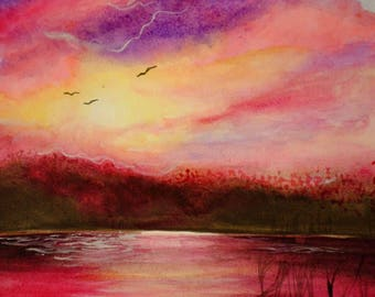watercolor painting riverside sunset