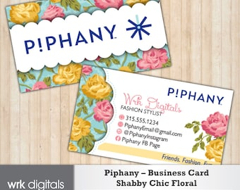 Piphany Business Cards, Shabby Chic Floral Design, Customized Business Card, Direct Sales, Fashion Stylist