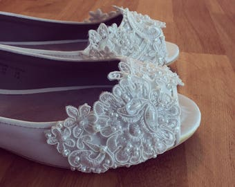 SALE - wedding shoes size 10 white Bridal Peep Toe Flats