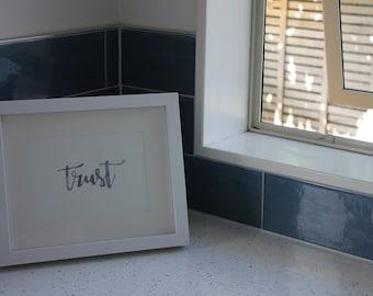 Trust // Watercolour Calligraphy