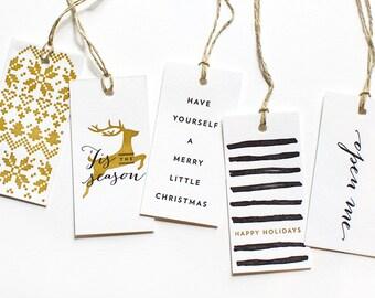 Letterpress Gift Tags | Black + Gold Modern Holiday | Set of 5