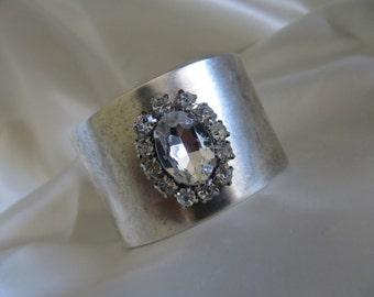 Wide Silver Cuff,  Silver Bracelet, Silver Cuff Bracelet with Crystal,  Womens Silver Cuff