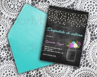 Despedida de soltera. Printable invitation. Watercolor floral and chalk. Purple and teal. Bridal shower digital invite.